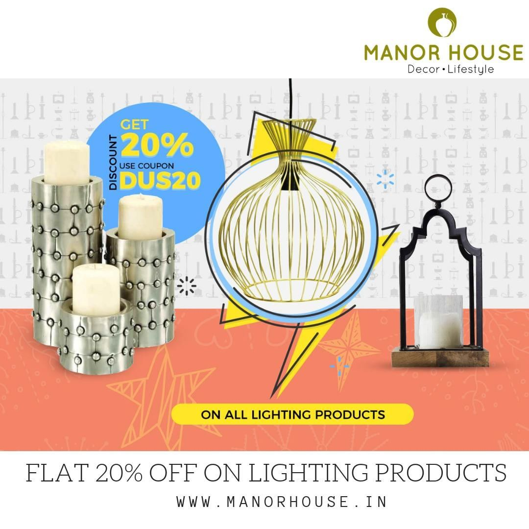 To celebrate the festive season, we are giving 20% off on all our lighting products - Candle holders, hanging lights and tealight holders. So wait no longer @manor_house _decor⠀ Shop link: buff.ly/2ErtGDF⠀ #manor_house_decor⠀ #homedecor #homedecorideas #diwalidecoration #lights #candleholders #lanterns #hanginglights