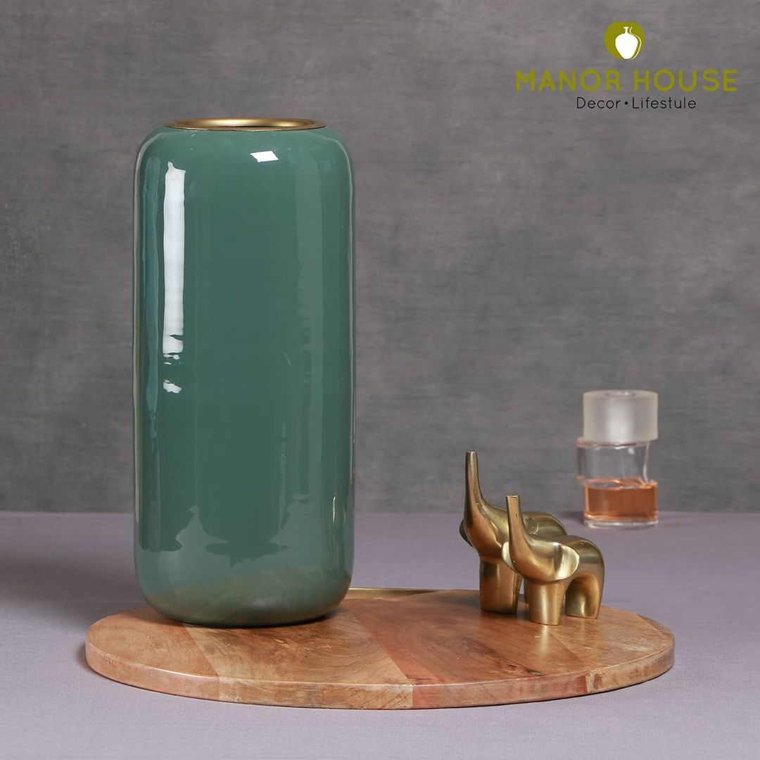 Have some fun and classy elements to your styling game Green tall vase thats elegant, brings color and catches attention. @manor_house_decor  #manorhouse #vase #plantsofinstagram #photooftheday #interiorstyling #interiorstylist #organizedhome #beautifulhomes #diwaligifts #diwalidecor #homedecor #diwalidecor #diwali2020