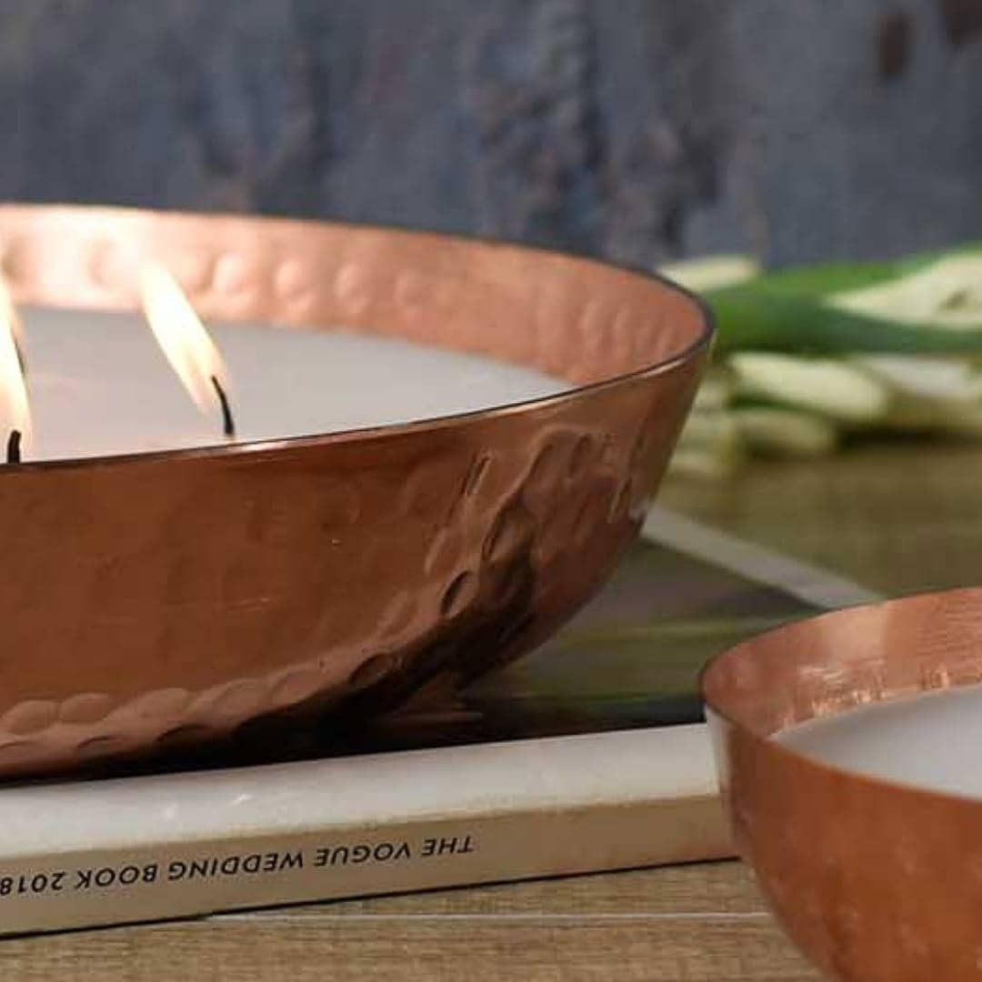 Wax filled fragrant metal bowls this winter season