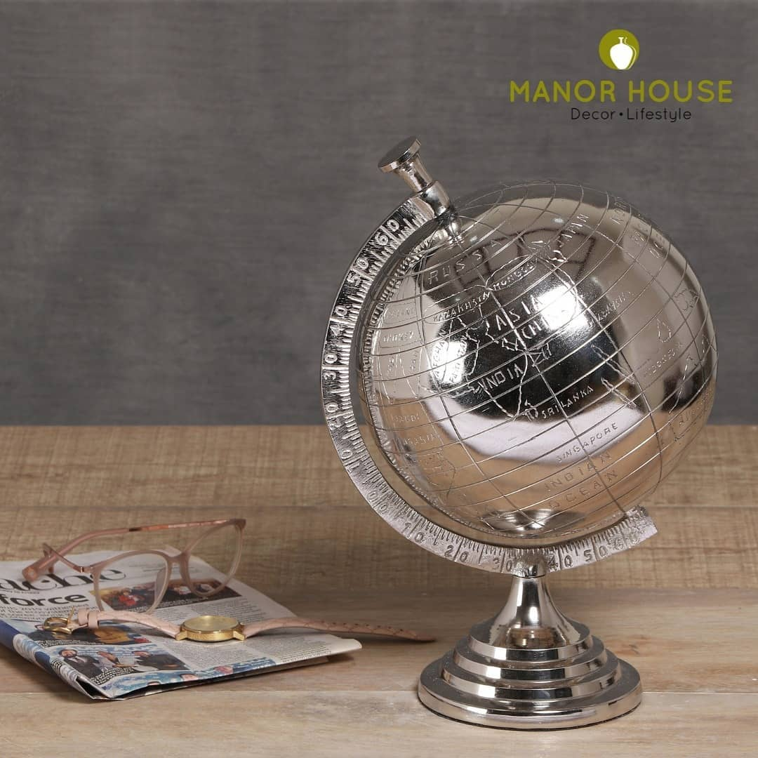 Get your hands on this extensive range of trendy table tops. Give your desk an elegant upgrade with this handcrafted Nickel Globe. . . . . #tabletop #tabletops #deskware #design #homedecor #decor #sundayvibes #elegant #extensive #handcrafted #nickel #globe #homestyling