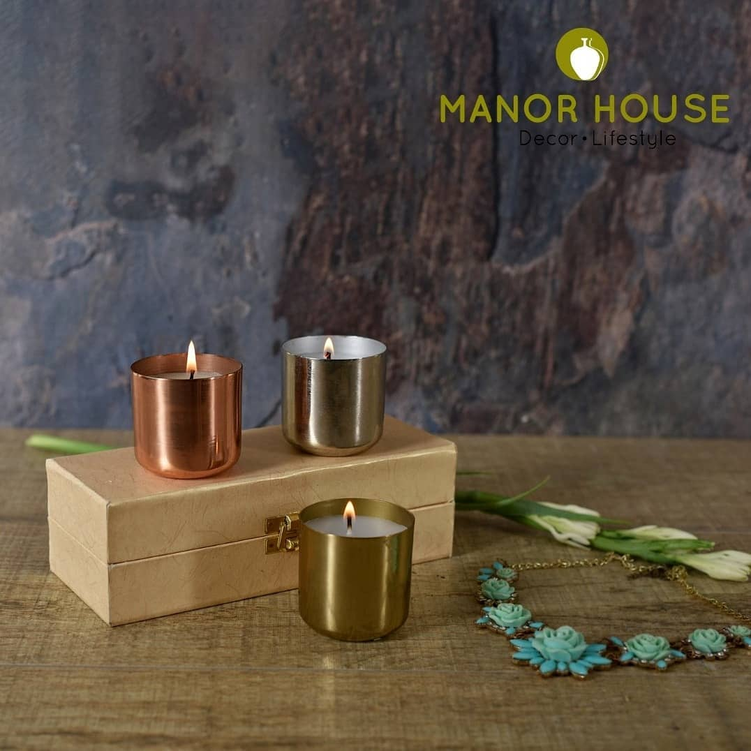 Manor House Decor,  candles, rosegold, gold, silver, votive, votives, flavoredcandles, fragrance, light, warm, beautifulhomes, crativehomes, art, homecanva, homestyling, decor, homedecor, aestetic, tableware, urbanhomes, india, delhi, home4u, ethnictouch, tablesetting, tablesettingideas, diy, homestore, tablesetup, homestop